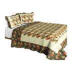 Blancho Bedding - [Bridge To Terabithia] Cotton 3PC Floral Patchwork Quilt Set (Full/Queen Size) - Set includes a quilt and two quilted shams (one in twin set). Shell and fill are 100% cotton. For convenience, all bedding components are machine washable on cold in the gentle cycle and can be dried on low heat and will last you years. Intricate vermicelli quilting provides a rich surface texture. This vermicelli-quilted quilt set will refresh your bedroom decor instantly, create a cozy and inviting atmosphere and is sure to transform the look of your bedroom or guest room. Dimensions: Full/Queen quilt: 90 inches x 98 inches  Standard sham: 20 inches x 26 inches.