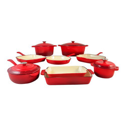"Le Chef Cookware - Le Chef 13 Piece Enameled Cast Iron Cherry Cookware Set - Le Chef 13 Piece Enameled Cast Iron Cherry Red Cookware Set is evenly conduct and retain heat while withstanding the rigors of daily use. Porcelain enamel interior finish requires no seasoning and resists scratches and chips. Goes easily from oven to table for beautiful presentation. High quality porcelain enamel coating is impermeable to odors and stains. No seasoning require. Safe on all cook tops and in the oven to 475 degrees F. Stainless Steel knob. Hand washing is recommended to preserve the cookware's original appearance. All flat bottoms are enameled as the two tone red exterior. Limited Warranty. Specifications : 7-qt Oval Dutch Oven: 13 1/2""Length (Not INCLUDE the handles) x10"" Width x 5 1/2"" Depth. 6-qt. Round Dutch Oven: 10"" Diameter x 5 1/4"" Depth (Not INCLUDE the handles). 1 3/4-qt. Round Dutch Oven: Diameter 7"" x Depth 3 3/8""."