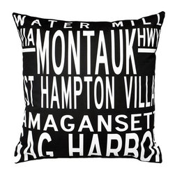 "Uptown Artworks - Hamptons 5 Line Pillow - Features: -Material: Natural cotton / linen. -We recommend spot-cleaning or wash in cool water with phosphate-free detergent. -Zipper closure, plush feather and down insert. -Made in the United States. -Eco-friendly. -Overall dimensions: 20"" H x 20"" W, 2 lbs."