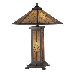 Lite Source - Table Lamp - Dark Bronze/Glass Shade - Table Lamp - Dark Bronze/Glass Shade, A 60Wx2 & C 7W