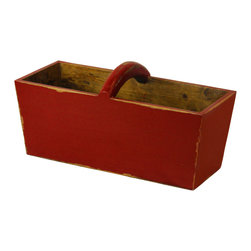 Antique Revival - Red Ella Planter Bucket - The Ella Planter Bucket is a great accent piece for any kitchen, patio or garden. The bucket features a curved wooden handle and works well both indoors or outdoors. The bold red finish adds a bright touch of color to your existing decor.