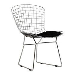Bertoia Style Wire Chair - The distinctive Wire Chair, designed by Harry Bertoia in 1952, is a fascinating feature of any room. The curves of the chair, formed of welded steel latticework, create a modern look and ensure seating comfort. The leather cushion complements the elegant, shiny metal frame. The Italian designer had an extensive interest in the technical execution of bent rods, which resulted in his unique and appealing design classics.