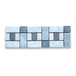 "Stone Center Corp - Carrara Marble Listello Tile Mosaic Border 4x12 Tumbled - Premium Carrara white marble pieces mounted on 4"" x 12"" sturdy mesh tile sheet"