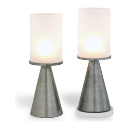 Port 68 - Camden Glass Candleholders, Gold Frosted, Set of 2, Silver - Use the Camden Glass Candleholders in frosted silver for en evening of entertaining or to create a soft glow in your living or dining room. Featuring turned metal with a hand-burnished antiqued gold leaf finish and frosted glass globe, these candleholders combine a modern cone shape with elegant style for a look that is original and upscale.