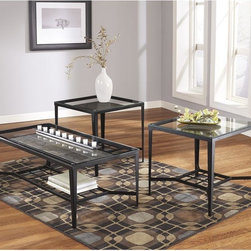 Signature by Ashley - Calder 3 Piece Occasional Table Set - Contemporary Design. Glass Table Top with Polished Edges. Slate Accents underneath Glass Top. Open Storage. Tubular Metal Frame. Textured Black Bronze Powder Coated Finish. 2 End Tables: 24 in. W x 24 in. D x 23.875 in. H. Bottom Shelf to Glass Top: 15.625 in. H. Cocktail Table: 48 in. W x 24 in. D x 18.75 in. H. Bottom Shelf to Glass Top: 11.5 in. H.