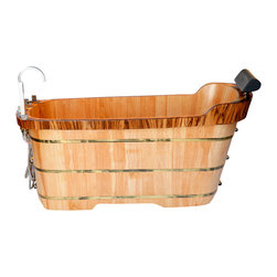 "ALFI - ALFI 59"" Free Standing Oak Wood Bath Tub with Chrome Tub Filler - Turn any bathroom into an eye catching spectacular with a high end wooden tub. The perfect addition to any log style cabin or winter home. nothing feels better than crawling into a tub made of wood and filled with steaming hot water. Just lay back and relax, you're in a classic wooden tub."