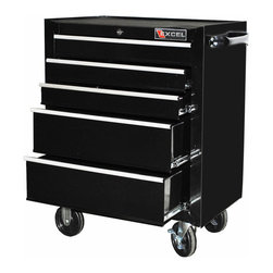 Excel - Excel 26-inch Five-drawer Roller Cabinet - This 26-inch steel roller cabinet has five ball bearing slide drawers,internal locking mechanism,EVA drawer liners,rubber top mat,full length aluminum drawer pulls,industrial powdercoat paint finish,and 5x1-inch casters.