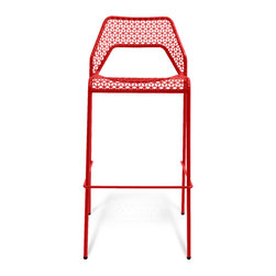 Blu Dot - Blu Dot Hot Mesh Barstool, Humble Red - Chipper stool seeks derrieres for at home enjoyment or cafe canoodling. Available in six finishes: black, green, humble red, natural yellow, simple blue and off-white. Stackable and suitable for use indoors or out. Also available as a chair or counterstool.