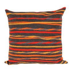 """Twist Stripe Grey Warm Print 20"""" By 20"""" Decorative Throw Pillow - This beautiful indoor / outdoor decorative throw pillow is made of 100% polyester microfiber. The cover has a zipper closure so you can take out the fiberfill inner pillow for hand-washing if you need to. The pillow measures 20 inchs by 20 inches. It looks just as great in your home or on your patio or wherever you want a dash of color."""