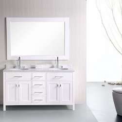 "Design Elements LLC - London 61"" Double Sink Vanity Set in White - The 61"" London double-sink vanity in white is elegantly constructed of solid hardwood. The classic beauty of the white Carrera marble countertop and the contemporary style of the white cabinetry bring a crisp and clean look to any bathroom. Seated at the base of the two ceramic sinks are chrome finish pop-up drains, designed for easy one-touch draining. A large white frame mirror is included. This beautiful vanity has ample storage, which includes two large pull-down shelves, four pullout drawers, and two soft-closing double-door cabinets, all accented with satin nickel hardware."