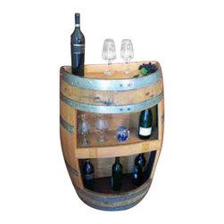 "Master Garden Products - Oak Wood Split Wine Barrel Display Shelf,  26""W x 13""D x 36""H - Our split barrel shelf is handcrafted from reclaimed used wine barrels from California, double shelf height 14"" head room, more display on the top of the split barrel."