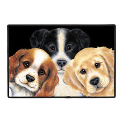460-Peeping Puppies Doormat - 100% Polyester face, permanently dye printed & fade resistant, nonskid rubber backing, durable polypropylene web trim. Use on the porch or near your back entrance to the house. Indoor and outdoor compatible rugs that stand up to heavy use and weather effects