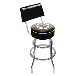 Trademark Global - Padded Bar Stool w Backrest & NHL Boston Brui - Adjustable levelers. Backrest for added comfort . Long lasting officially licensed NHL team logo. Great for gifts and recreation decor. 7.50 in. High padded seat. 30 in. High bar stool great for bar pub table and bars (40 in. tall with backrest). Commercial grade vinyl seat. Chrome plated double rung base. 14.75 in. W x 14.75 in. D x 40 in. H (24 lbs.)This National Hockey League Bar Stool with backrest will be the highlight of your bar and game room.