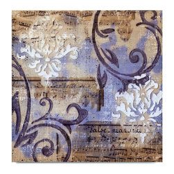 """Vertuu Design - 'Notes and Scrolls I' Artwork - Bring a splash of vivid purple and lavender to your home with the hand-painted """"Notes and Scrolls I"""" Artwork. Featuring a collage of vintage music sheets and elegant scroll designs, this acrylic canvas piece makes a bright, elegant addition to traditional decor. Hang it above a dresser or mantel as a focal piece."""