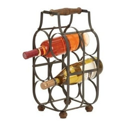 "Benzara - Sheet Metal Wine Holder 16""H, 8""W - Sheet metal wine holder 16""H, 8""W. Some assembly may be required. Size: 8""x7""x16""."