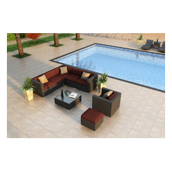 Urbana 8-Piece Modern Patio Sectional Set, Henna Cushions