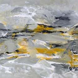 Marysville, Original, Painting - Neutral shades of black, gray and yellow oxide making a beautiful olive green as they intermix and flow together.  Varnished on both sides for protection from UV rays, dust and moisture.