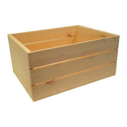 MGS Inc. - 20-inch Wooden Crate - The ideas are endless with the 20-inch Wooden Crate.  Unfinished solid pine that is ready for your personal touch.  Add a warm rustic feeling to any room or decor no matter what it may hold.  Nesting crates for easy storage - sizes for purchase include 22-inch, 20-inch, 18-inch, 16-inch, 14-inch or buy them all together in the 5pc Set.