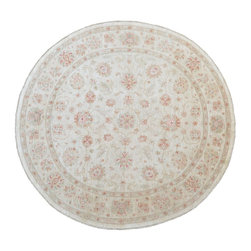 1800-Get-A-Rug - Oushak Round White Wash Hand Knotted Rug Carpet Sh9006 - About Oushak and Ziegler Mahal