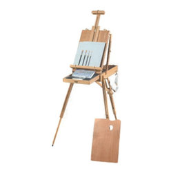 Martin Universal - Martin Universal Rivera Deluxe Sketch Box Easel - 63-AB30331 - Shop for Art Easels from Hayneedle.com! The Martin Universal Rivera Deluxe Sketch Box Easel is the top of its class. Constructed of seasoned elm wood with a hand-rubbed oil finish this easel is both elegant and extremely functional. Employing telescoping legs and a double telescoping center column this deluxe easel will do more than any other French sketchbox easel. It easily folds and locks into position and is equipped with a durable/adjustable shoulder strap. The Rivera Deluxe French Sketchbox Easel also contains a spacious metal sliding drawer with 4 adjustable compartments and a wooden palette. Comes equipped with your choice of acrylic watercolor or oil paint set.Additional InformationOverall height adjustment: 43 to 71 inchesFolded size: 16W x 22.5D x 6H inchesDrawer dimensions: 11.5W x 18D x 1.5H inchesAbout Martin Universal/F. Weber Co.For a century and a half the name Martin Universal and F. Weber Co. have been synonymous with quality art materials. Established in 1853 in Philadelphia Pa. the Martin/Weber is the oldest and one of the largest manufacturers of art materials in the United States.