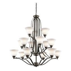 Kichler Lighting - Kichler Lighting Langford 15-Light Transitional Chandelier X-ZO9871 - This classic 15 light, 3 tier chandelier from the Langford&trade: collection is a timeless accent fitting for any space. The Olde Bronze&trade: finish and Satin Etched Glass combine to create a refined statement.