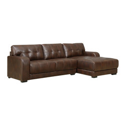 Global Furniture USA - U11927 Brown Bonded Leather Sectional Sofa - The U11927 sectional sofa features a modern styling that works well with just about any decor it's placed in. This sectional comes upholstered in a beautiful brown bonded leather in the front where your body touches. Skillfully chosen match material is used on the back and sides where contact is minimal. High density foam is placed within the cushions for added comfort. The sectional features a subtle tufting on the back cushions that adds to the overall look.