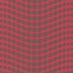 Brewster Home Fashions - Genesis Pink Dotty Wallpaper Bolt - This ultra mod  Wallpaper has a dazzling and eccentric metallic polka dot print on a vivid fuchsia backdrop. Contemporary and fun with an eye-catching radiance.