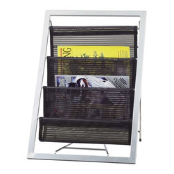 Adesso - Adesso Magazine Rack, Black S2 - Powder coated steel metal frame with three black mesh storage pouches. 14.5 in Width, 13 in Depth, 20 in Height.