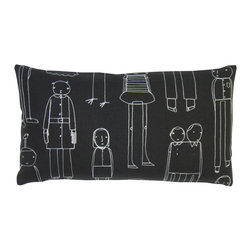 k studio - Everyday People Rectangular Pillow, Black With White Stitch - Designed by Shelly KleinPart of the k studio Everyday People Pillow Collection. Materials: Black hemp/cotton with white stitch. Feather/down insert. Zipper closure. Made in the USA. Care: Hand wash cold water, dry flat.