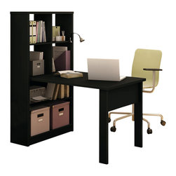South Shore - South Shore Annexe Work Table and Storage Unit Combo in Pure Black - South Shore - Work Table - 7270798 - Create the perfect work environment with the generous work and storage space of the South Shore Annexe work table and bookcase-type storage unit combo in Pure Black finish. The storage unit features 4 see-through cubby storage spaces on top and 2 shelves on the bottom to fit all your office supplies. It is perfect for small spaces making it a great addition to any student's bedroom.