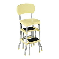 Cosco Retro Chair with Step Stool, Yellow - Bringing back classics from the good ol' days gets a lot of people really excited about decorating. Adding an unexpected piece, like this step stool, from way back makes a room fun and comical.