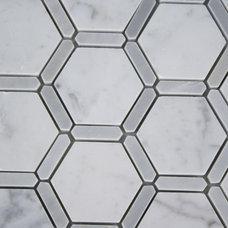FLORENTINE WHITE CARRERA WITH LIGHT BARDIGLIO LINE glass tile - shop glass tiles