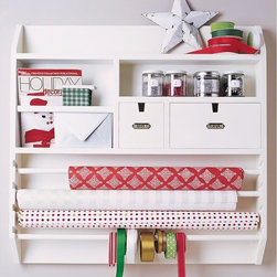 Wall-Mounted Craft Organizer, White - I do not have a dedicated crafting space, but if I did, then this item would be in it. I love that the design is simple and that it has room for a little bit of everything. No, you won't be able to display all of your wrapping paper, ribbons, etc., but you'll at least have the items that you use regularly close at hand.