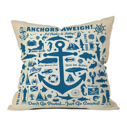 DENY Designs - Anderson Design Group Anchors Aweigh Outdoor Throw Pillow - Do you hear that noise? it's your outdoor area begging for a facelift and what better way to turn up the chic than with our outdoor throw pillow collection? Made from water and mildew proof woven polyester, our indoor/outdoor throw pillow is the perfect way to add some vibrance and character to your boring outdoor furniture while giving the rain a run for its money.