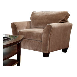 Broyhill - Broyhill Maddie Microfiber Mocha Chair with Affinity Wood Finish - Broyhill - Club Chairs - 65170Q - About This Product: