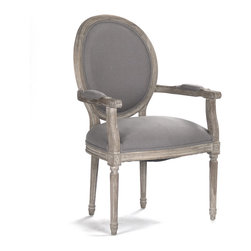 Kathy Kuo Home - Madeleine French Country Oval Gray Linen Dining Arm Chair - There's something wonderfully decadent about an armchair at the table - it allows you to sit back and savor your cabernet before diving into your steak tartare. This French country seat is no exception - the grey linen upholstery and bleached limed oak frame combine to produce a comfortable, gracious perch.