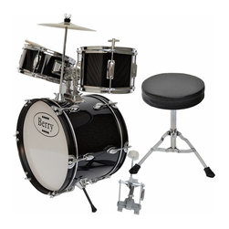 Berry Toys - Berry Toys Kids Large Drum Set - Black - MKMU-3KL-BLK - Shop for Toy Instruments from Hayneedle.com! Whether your child aspires to one day being a band leader like Gene Krupa or Phil Collins or is happy as a rotational player like legends Peter Chris and Eric Carr of KISS the Berry Toys Kids Large Drum Set - Black can set them on their way toward greatness. This starter drum set gets kids involved in music education early when their spongelike learning potential is at its peak. Children who take up instruments early are shown to develop not just musical aptitude quickly but an ability to focus on and absorb other disciplines as well. This drum set allows kids to explore sound through a natural percussive inclination which hammers home cause-and-effect relationships. This complete drum kit comes with absolutely everything your child needs to play right away including sticks throne and drum key. But just a word of warning if Spinal Tap comes calling your child should probably sit that gig out.Drum MeasurementsBase drum: 16-in. diam.Tom: 10-in. diam.Tom: 8-in. diam.Cymbal: 10-in. diam.Base drum pedal: 10L x 10H in.Throne: 9 diam. x 14H in.; seat: 2 in. thickAbout Berry ToysBased in Chino Hills California Berry Toys is a leading manufacturer of children's toys. Berry Toys aims to educate children through play and their toy selection includes play kitchens play foods musical instruments play tools and more. If you want affordable pricing quality customer service and educational toys that are manufactured according to the highest standards Berry Toys can deliver.