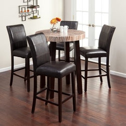 Carmine 5 Piece Pub Set - The Carmine 5 pc. Round Bar-Height Table Set has a rich caramel-colored faux marble top and luxurious faux leather chairs that add sophistication to any room. This set blends modern design topped with classic appeal. All pieces have sleek tapered wooden legs finished with a rich espresso laminate. The bar-height table is topped with a round caramel-colored faux marble top the dining chairs are wrapped in dark brown faux leather that is sumptuous yet cleans up in a flash. Included in this set are the taller table and four chairs. Table dimensions: 36 in. Diameter x 42H inches. Chair dimensions: 19.25W x 42D x 45.25H inches. Seat height: 30 inches.