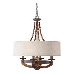 Murray Feiss - Murray Feiss F2752 4 Adan 4 Light Single Tier Chandelier - The artfully crafted rustic iron structure, combined with gently curved burnished wood arms make this chandelier the perfect choice for your home.