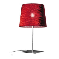 "Morosini - Morosini Dress Table Lamp - Large - The Dress table lamp has been designed by Andrea Lazzari & Massimo Tonetto for Morosini. This collection of lamps comes in satin finished stainless steel and features a metric fabric diffuser in either silver, red, or ivory. The Dress series leaves a lasting impression while making a distinguished statement.   Product Details: The Dress table lamp has been designed by Andrea Lazzari & Massimo Tonetto for Morosini. This collection of lamps comes in satin finished stainless steel and features a metric fabric diffuser in either silver, red, or ivory. The Dress series leaves a lasting impression while making a distinguished statement. Details:                         Manufacturer:                        Morosini                                         Designer:                        Andrea Lazzari & Massimo Tonetto                                         Made in:            Italy                            Dimensions:                        Height: 21.7"" (55 cm) X Width: 12.6"" (32 cm)                                         Light Bulb:                        1 X E27 Max 70W Halogen or 1 X E27 Max 20W Fluorescent                                         Material:            metal, Metal fabric"