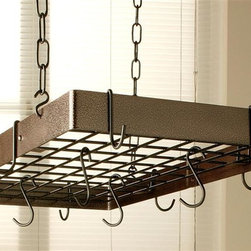 Rogar - Grid Pot Rack in Hammered Copper w Black Hook - Color: Hammered Bronze/BrassLids can be placed on top of grid. Includes 8 regular, 4 grid hooks, 4 ceiling hooks. Includes 4 Chains, each 18 in. long. Hammered Copper w gold accents.  Black finished hardware. 30 in. L x 15 in. W x 2 in. H (12 lbs.)
