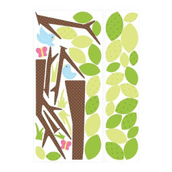 RoomMates Peel & Stick - Kids Tree Giant Wall Decal - The ultimate trendy deco for any nursery or kids room. Like our Dotted Tree, this design features stylish leaves, birds, and butterflies, but packs a bigger punch with some extra patterned leaves and lighter colors. Because RoomMates remove and reposition easily, you can try many variations until you've grown the tree of your dreams. An easy way to give any room a sweet, earthy touch.