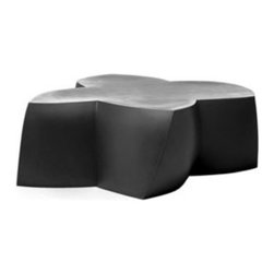 Heller - Frank Gehry Color Coffee Table, Black - Here's some flower power to energize your indoor or outdoor room. The twisted flower shape is molded from polyethylene in your choice of eye-popping colors and is waterproof and UV-protected to keep its bloom for years to come.
