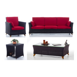 All Things Cedar - RATTAN wicker 8 Ft. SOFA PATIO SET w/ Ruby Red cushion - Our deep seating furniture offers plenty of room for entertaining or just a weekend of relaxing :  SET INCLUDES: SOFA ( 92w x 33d x 34h ) : ARM CHAIR ( 33w x 33d x 34h ) : COFFEE TABLE (47w x 24d x 16h)  : SIDE TABLE ( 20w x 20d x 20h )  6 Red Cushions for the Sofa plus 2 Side Pillows and 2 Red Cushions for the Arm Chair plus 1 Side Pillow