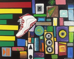 Musicality (Original) by Kevin Majette - Hello world. Here on sale i have a very unique painting, maybe one of my all-time favorite pieces. An original painting made by me. It features many elements, such as urban Art, music, fashion/sneakers, abstract, all packed into one piece.