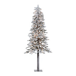 """Vickerman - Flock Alpine DuraLt 200CL 657T (6' x 33"""") - 6' x 33"""" Flocked Alpine Tree with Natural Wood Trunk. 657 Tips 200 Clear Dura-Lit Lights and Metal Stand"""