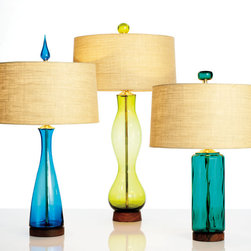 Blenko Glass iconic Mid-Century Modern table lamps - Classic, handblown Blenko mid-century style lamps. (More styles and colors available.) From left to right: