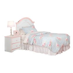 Standard Furniture - Standard Furniture Sweet Dreams Panel Headboard in White and  Pink - Full/Queen - Sweet Dreams, by Frisco Manufacturing, Features a traditional look, inspired by fairy tales every princess dreams of. Quality wood products bonded together creates durable construction throughout. Products may contain some plastic parts. French dovetail construction throughout enhances durability. Roller side drawer guides provide ease and convenience. Coordinated pink color knobs. Floral d.