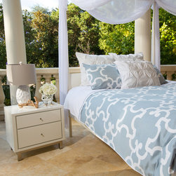 Geometric Print Two-Toned Signature Designer Duvet Cover, The Noe Dusk Blue - This dusk blue and white Moroccan-inspired quatrefoil printed duvet emits sophistication and symmetry. In our Signature style, the two-toned cover gives you the perfectly made bed instantly.