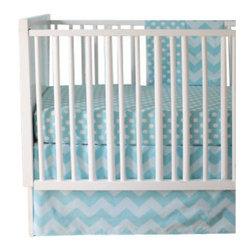 New Arrivals Inc. - Chevron Zig Zag Aqua Crib Skirt -